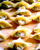 Wonton. Pupular chinese stuffed dough food ready to be cooked Stock Images