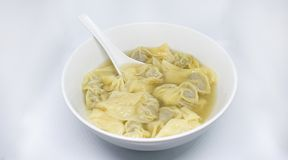 Wonton in bowl - chinese food royalty free stock photography