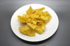 Wonton cuit à la friteuse, boulette cuite à la friteuse images stock