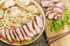 Wonton and Duck Noodle Soup Royalty Free Stock Photos