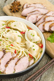 Wonton and Duck Noodle Soup. Wonton Noodle Soup - Chinese noodle soup with dumplings and sliced duck breast Royalty Free Stock Photography