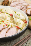 Wonton and Duck Noodle Soup Stock Photo