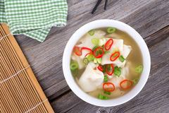 Wonton dumpling asian soup. With green onion and thai pepper Stock Photography