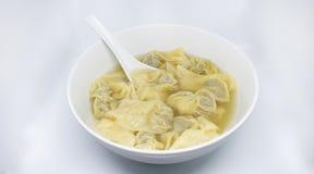 Wonton i bunken - kinesisk mat royaltyfri fotografi