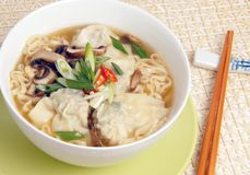Wonton Noodle Soup Stock Photo