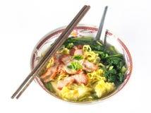Wonton and noodle for traditonal gourmet dumpling Royalty Free Stock Photos