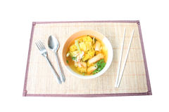 Wonton noodles soup in bowl on plate wooden. Royalty Free Stock Photo