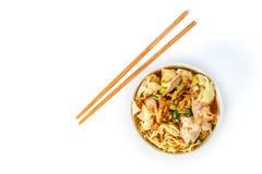 Wonton noodles. On white background stock photos
