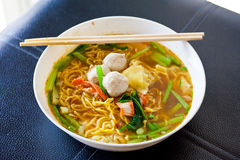 Wonton noodles, yellow frame. Royalty Free Stock Photography