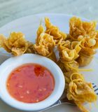 Wonton Oriental deep fried wontons filled Royalty Free Stock Images