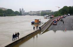 Wonton rzeczna powódź w Paryż na Czerwu 02, 2016 Obrazy Stock