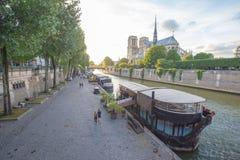 Wonton rzeka i katedra notre dame de paris, Francja zdjęcia royalty free