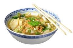 Wonton soup. Tasty wonton soup on white background royalty free stock photo