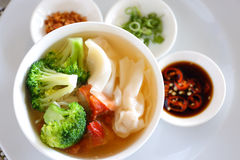 Wonton soup(noodle) Royalty Free Stock Images
