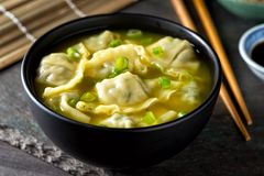 Wonton Soup with Scallions. A bowl of delicious chinese wonton soup with green onion garnish royalty free stock photography