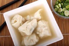 Wonton soup with shallots Stock Photos