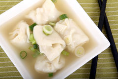 Wonton soup with shallots Stock Photography