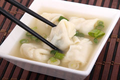 Wonton soup with shallots Royalty Free Stock Image