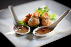 Wonton with sweet and sour sauce Royalty Free Stock Photo