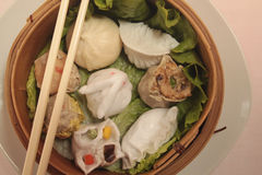 Wontons wrappers. In wooden bowl Stock Photography