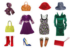 Wonwn clothes and accessories set Stock Images