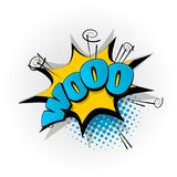 Woo, boo comic book text pop art. Woo, boo hand drawn pictures effects. Template comics speech bubble halftone dot background. Pop art style. Comic dialog cloud Royalty Free Stock Photography