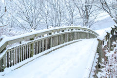 Woo bridge with background snow on winter Royalty Free Stock Images