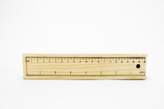 Wooben ruler. And pencil box Royalty Free Stock Photos