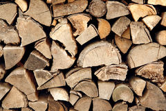 Wood. Pile of firewood in the country yard Stock Photos