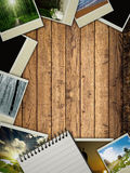 Wood. Texture. Frame with old paper and photos Royalty Free Stock Image