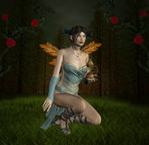 Into the wood. Beautiful fairy into the wood - fantasy artwork royalty free illustration
