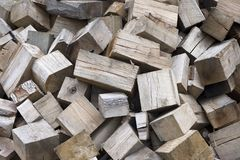 Wood. A pile of wood blocks Stock Images