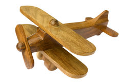 Wood airplane stock photo