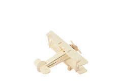 Wood airplane on old white background,with clipping path. Royalty Free Stock Photography