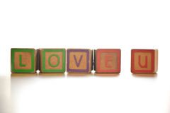The wood alphabet love u Royalty Free Stock Photography