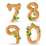 Wood alphabet number with branch green leaves. Vector template design vector illustration