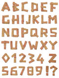 Wood alphabet and numbers set Royalty Free Stock Photography