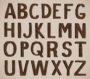 Wood Alphabet. Old wood english alphabet letters. 3D vector illustration Royalty Free Stock Photo