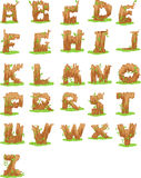 Wood alphabet vector Royalty Free Stock Photo