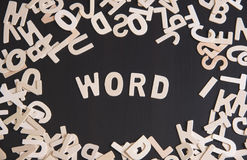 Wood alphabet word on table. concept idea. For topic cover Royalty Free Stock Image