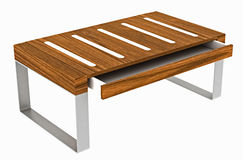 Wood and aluminum table Royalty Free Stock Images