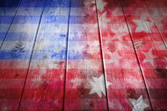 Wood American Flag Background. A wood surface with an abstract American flag design shot from a low angle Royalty Free Stock Photo