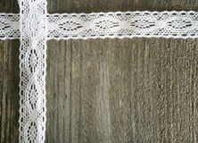 Wood And Lace Stock Photography