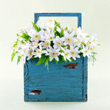 Wood anemones in a blue wooden basket Royalty Free Stock Photography