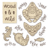 Wood animal figures. Eco friendly toys Royalty Free Stock Images