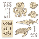 Wood animal figures. Eco friendly toys Royalty Free Stock Photography
