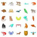 Wood animals icons set, cartoon style. Wood animals icons set. Cartoon set of 25 wood animals icons for web isolated on white background Stock Images