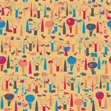 Wood Animals tapestry seamless pattern in colors Royalty Free Stock Photos
