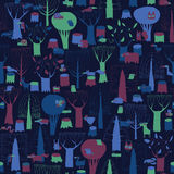 Wood Animals tapestry seamless pattern in dark colors Stock Images