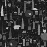 Wood Animals tapestry seamless pattern in grey Stock Photos